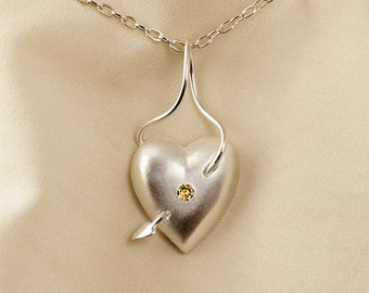 Diamond or Ruby Heart Pendant Necklace in Sterling Silver