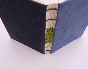 Dark blue journal, Coptic, woven spine, notebook, faux suede