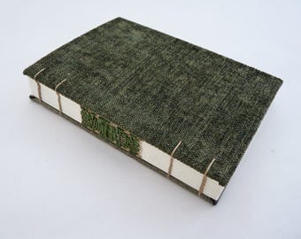 Dark green, forest green, journal, Coptic, A6, woven spine, notebook, faux suede