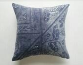 Indigo Chinese Batik Pillow Cover - Blue Vintage Boho Pillow - Bohemian Pillow