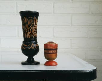Wooden Carved Vessels Vases - Wood Tchotckes - Bohemian Shelf Decor Wooden Knick Knack
