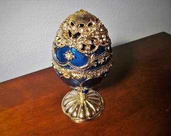 Vintage Faberge Style Musical Egg with Carousel Horse inside