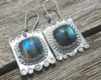 Rainbow labradorite and Sterling Silver earrings, tribal labradorite earrings, labradorite sterling earrings, southwestern sterling earrings