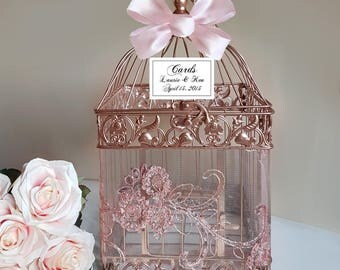 Small Rose Gold Bird Cage-Wedding card holder