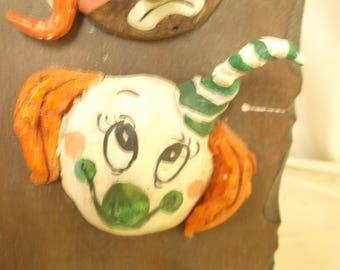 Clown Sculpture, Original, Chuck Oberstein, Clay on Wood