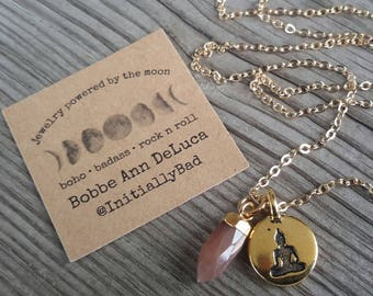 Gold Buddha and Mini Pink Moonstone  Point Necklace