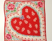Valentine's Day Handkerchief, Women's Heart Hanky, Valentine's Day Gift for Mom, Red Heart with Blue Ribbon and Pink Roses and Blue Flowers