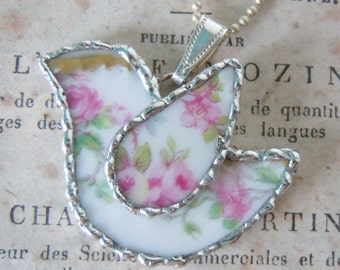 Fiona & The Fig-Antique-Victorian-French-Haviland-Limoges-Broken China-Bird - Soldered Necklace - Pendant-Charm-Jewelry