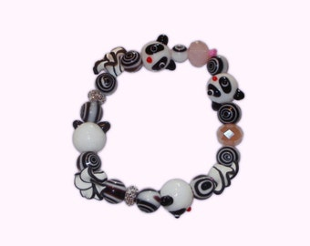 Pandas, Flowers and Stripes Large Beaded Bracelet