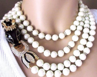 CINER Statement Runway Necklace Creamy Glass Pearl & Enamel Horse Moghul Necklace Ciner Unsigned