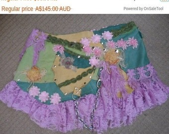 """20%OFF BURNING MAN suede and leather belt with lace and embellishments ...40"""" to 48"""" waist or hips..large"""