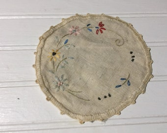 Cream floral doily embroidered  home decor boho chic bohemian earthy table