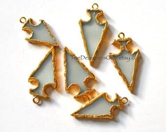 Aqua Chalcedony Arrowhead Pendant, Gold Dipped Arrowhead, Chalcedony Arrowhead Pendant, Bohemian Pendant