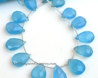 SALE Large Bright Sky Blue Chalcedony Top Drilled Pear Shape Briolettes 15 x 10mm  to 16 x 11mm- 1/2 STRAND