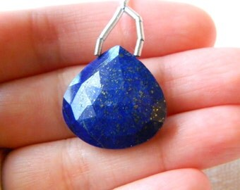 Large focal AAA rose cut faceted Lapis lazuli heart briolette bead with copper flecks 22mm x 22mm