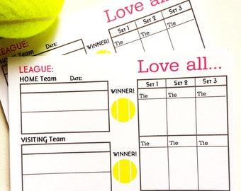 "Tennis League Scoring Pad 4"" x 6"""
