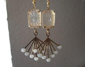 Vintage Art Deco Frosted Lalique Inspired Starburst Sunburst Camphor Glass Pierced Earrings Opal Dangles