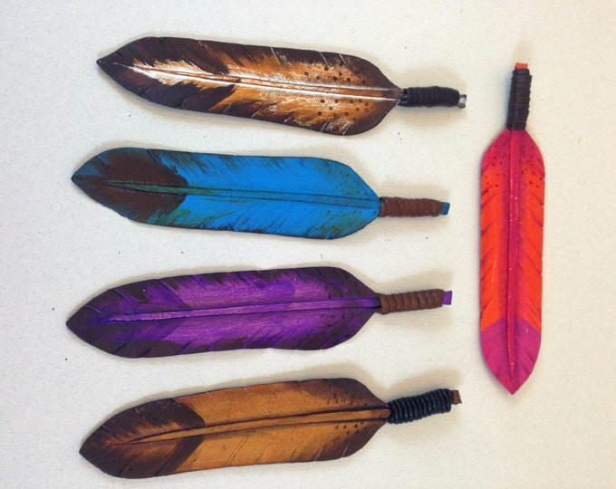 Leather Feather Pendant by Rockstar Cowgirl, Hand Tooled and Hand Painted Leather Feather