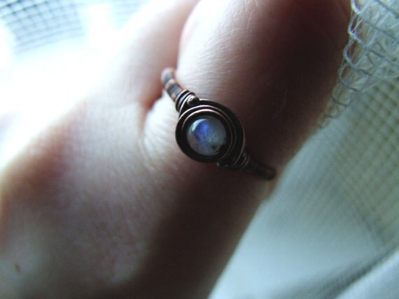 Moonstone Ring, Rustic, Boho, Moonstone Jewelry, Retro Copper Moonstone Ring