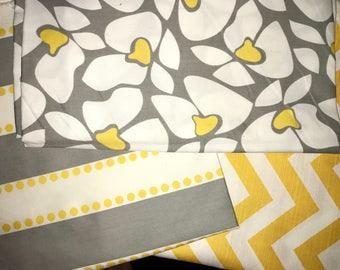Three yards of Yellow - Gray Fabric