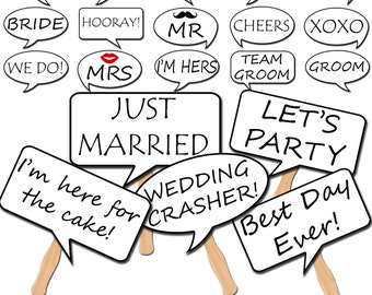 Wedding Photo Booth Speech Bubble Props, Printable Photo Props, Wedding Party Props, Instant Download - DP411