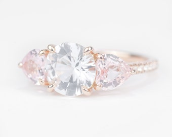 Sale - CERTIFIED - GIA Certified Three Stone Round and Heart White and Peach Pink Sapphire & Diamond Ring 14K Rose Gold