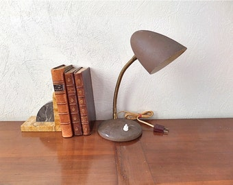 Vintage French Brown Mid Century Desk Lamp 1950s