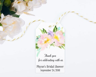 Pastel Watercolor Bridal Shower Favor Tags, Large Gift Bag Tag with Pink Flowers - Size 2 x 3.5 inches, Printed Tags