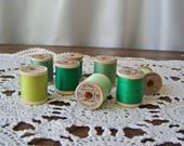 Vintage Wood Thread Spools Shades of Green Sewing Room Vintage 1950s