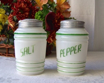 Vintage Milk Glass Salt and Pepper Shakers Range Size Shakers Retro Kitchen Shabby Cottage Decor 1940s