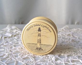 Vintage Trinket Box Morris Island Lighthouse Faux Ivory ResinTreasure Box by Barlow 1990s