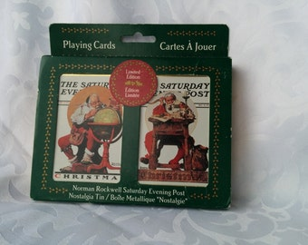 Vintage Sealed Norman Rockwell Santa playing cards - Unopened