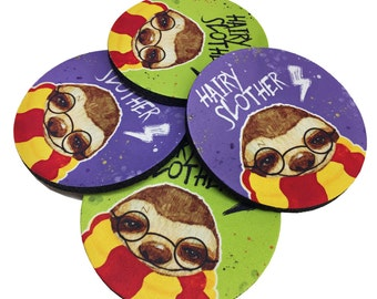 Hairy Slother Coaster set - Sloth Coasters - Bookish Coaster set - Sloth Birthday - Cute Sloth - Harry Potter - Harry Potter Gift - Potter