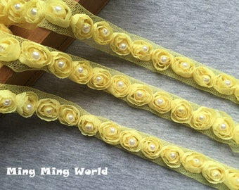 3 yards Yellow Color Hand Made Sew Pearl Rose Chiffon Lace Trim (C9)