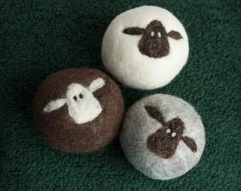 Felt Wool Dryer Balls Set of 3 sheep eco-friendly energy saving dryer balls, fiber art ornaments, housewarming gift, baby shower gift