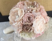 Brooch Bouquet, Fabric Bridal Bouquet, Wedding Accessory, Vintage Bouquet, Blush Wedding Bouquet, Bridal Accessory, MANY COLORS AVAILABLE