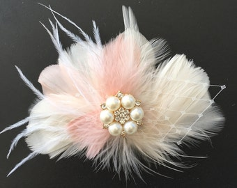 Feathered hairpiece, Wedding hair accessory, Blush pink bridal hairpiece, Gatsby hairpiece, Feathered fascinator, Bridal hair accessory