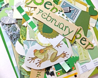 Green Paper Scrap Pack, Collage papers, Paper Ephemera pack, Collage pack,  80 pieces