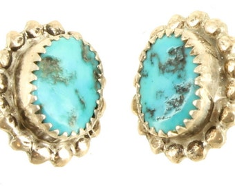 """Old Pawn Sterling Turquoise Rope Turned Cab Screw Earrings Pretty .5"""""""