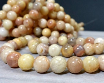 Natural Sunstone 6 8 10 or 12 mm Smooth Round Beads 1.1 mm hole (G3558W24Q5)