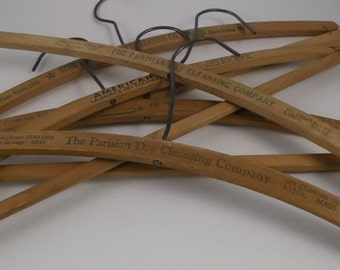 Vintage Wooden Hangers, Advertising Dry Cleaners Hangers, 5 Pieces