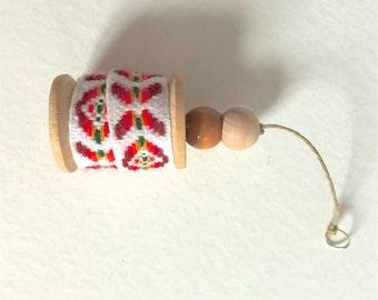 Christmas Ornament - Vintage Ribbon on Wooden Spool
