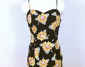 Iconic 90's sunflower print Silk maxi dress, vintage 1990's, size medium