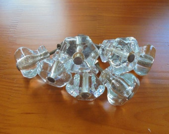 Antique GLASS KNOBS set of 7