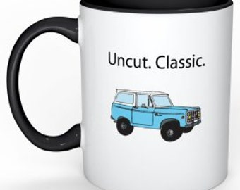 Classic Ford Bronco Uncut. Classic.  Illustration Ceramic Mug with Black Handle