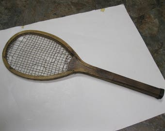 Antique Outdoor Sports Tennis Racket Superior Thomas E Wilson Wooden Vintage Old Rustic Character Wall Decor Game Sports Bar Man Cave Cabin