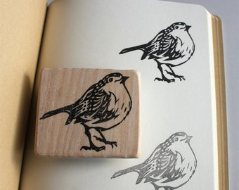 Robin redbreast stamp, hand carved, wood mounted, bird stamp