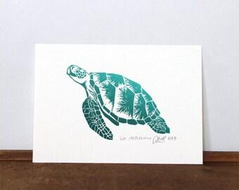 The loggerhead sea turtle, original linocut print, signed and dated, emerald, UNFRAMED