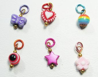 Nail Dangles 6 Different Small; Evil Eye, Star and others