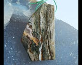 Natural Gemstone Ocean Jasper Pendant Bead,46x27x5mm,12.4g(c0401)